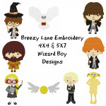 Wizard Boy Digital Embroidery Machine Design Set 4X4 & 5X7