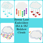 Rainbow Clouds Digital Machine Embroidery Design Set 4X4 & 5X7