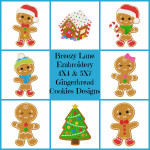 Gingerbread Man Digital Machine Embroidery Design Set 4X4 & 5X7