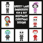 Christmas Nightmare Digital Machine Embroidery Design Set 4X4 & 5X7