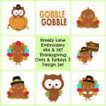 Thanksgiving Turkey and Owl Digital Embroidery Machine Design Set 2 4X4 & 5X7