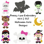 Halloween Girls Digital Machine Embroidery Design Set 4X4 & 5X7