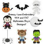 Halloween Boys Set Digital Machine Embroidery Designs 4X4 & 5X7