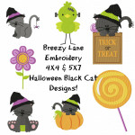 Halloween Cat Digital Machine Embroidery Design Set 4X4 & 5X7