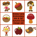 Autumn Girls Digital Machine Embroidery Designs 4X4 & 5X7 Set