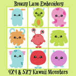 Kawaii Monsters 4X4 & 5X7 Machine Embroidery Design Set