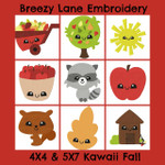 Kawaii Fall 4X4 & 5X7 Machine Embroidery Design Set
