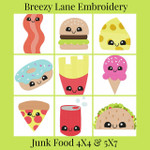Kawaii Junk Food 4X4 & 5X7 Digital Machine Embroidery Design Set