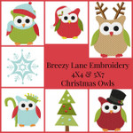 Christmas Owls 4X4 & 5X7 Digital Machine Embroidery Design Set