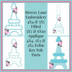 Paris 4X4 & 5X7 Filled, 5X7 & 6X10 Applique, Key Fob and 2X2, 3X3 & 4X4 Feltie