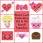 Valentine's Kawaii 4X4 & 5X7 Machine Embroidery Design Set