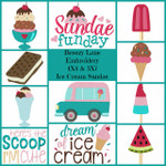 Ice Cream Sundae 4X4 & 5X7 Machine Embroidery Design Set