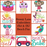 Beach Fun 4X4 & 5X7 Machine Embroidery Design Set