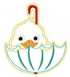 "Feltie Ducky Umbrella 1.5X1.5 & 2""X2"" MACHINE EMBROIDERY DESIGN"