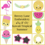 Kawaii Tropical Summer 4X4 & 5X7 Machine Embroidery Designs
