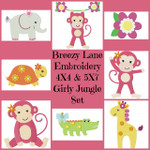 Girly Jungle 4X4 & 5X7 Machine Embroidery Design Set