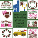 Football Wordart 4X4 & 5X7 Machine Embroidery Design Set
