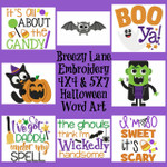 Halloween Word Art 4X4 & 5X7 Machine Embroidery Design Set