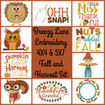 Fall and Harvest 4X4 & 5X7 Machine Embroidery Design Set