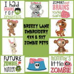 Zombie Pets 4X4 & 5X7 Machine Embroidery Design Set