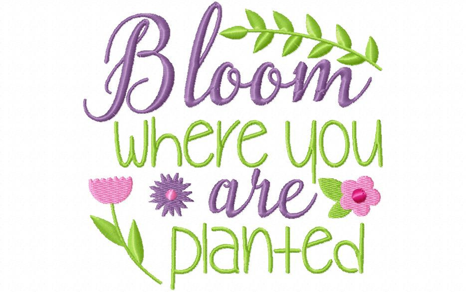 Bloom Where You Are Planted Inspirational Word Art Machine