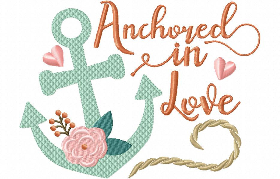Anchored in love beach wedding word art machine embroidery for Beach house embroidery design