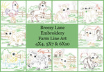 Farm Baby Animals Line Art Set MACHINE EMBROIDERY DESIGN 4X4, 5X7 & 6X10