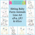 Sitting Baby Farm Animals Line Art Set MACHINE EMBROIDERY DESIGN 4X4, 5X7 & 6X10