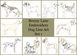Dog Breeds Set 1 Line Art Set MACHINE EMBROIDERY DESIGN 4X4, 5X7 & 6X10