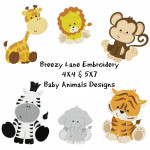 Baby Animals 4X4 & 5X7 Machine Embroidery Design Set