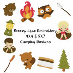 Camping 4X4 & 5X7 Embroidery Design Set