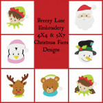 Christmas Faces 4X4 & 5X7 Embroidery Design Set