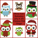 Christmas Owl 4X4 & 5X7 Embroidery Design Set