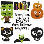 Crazy Halloween Machine Embroidery Design Set 1 4X4 and 5X7
