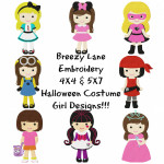Costume Girl Halloween Machine Embroidery Design Set 4X4 & 5X7