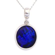 Lost Sea Opals - 18k White Gold black opal pendant