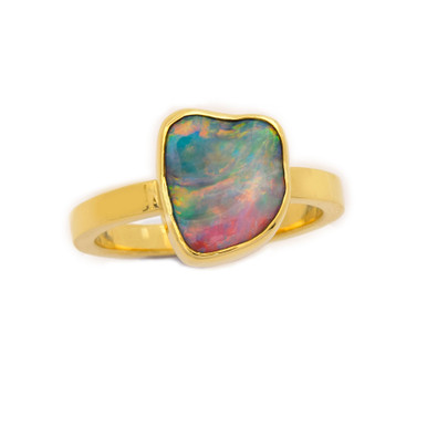 Lost Sea Opals - Black opal 18ct gold ring