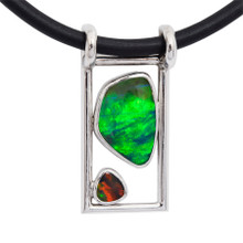 Lost Sea Opals - Sterling silver and black opal pendant