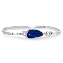 Black Opal Silver Bangle - Tension Clasp