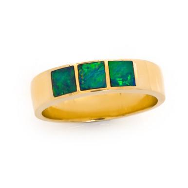 Lost Sea Jewels -opal inlaid ring.
