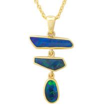 Lost Sea Opals Black Opal - 9k gold pendant
