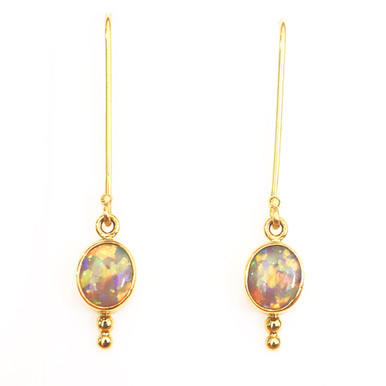 18ct Gold Crystal opal earrings- Lost Sea Opals