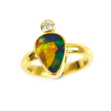 Lost Sea Opals - Black Opal Ring with Diamond