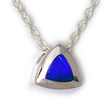 Lost Sea Opal- Triangular sterling silver opal inlay pendant