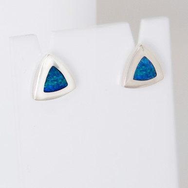 Lost Sea Opals - Silver opal inlay earrings