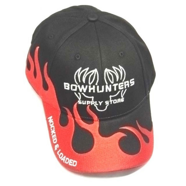 Bowhunters Supply Store Cap Black/Red Flames