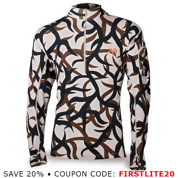 First Lite Chama QZ - Midweight - 1/4 Zip Long Sleeve - ASAT Camo SM