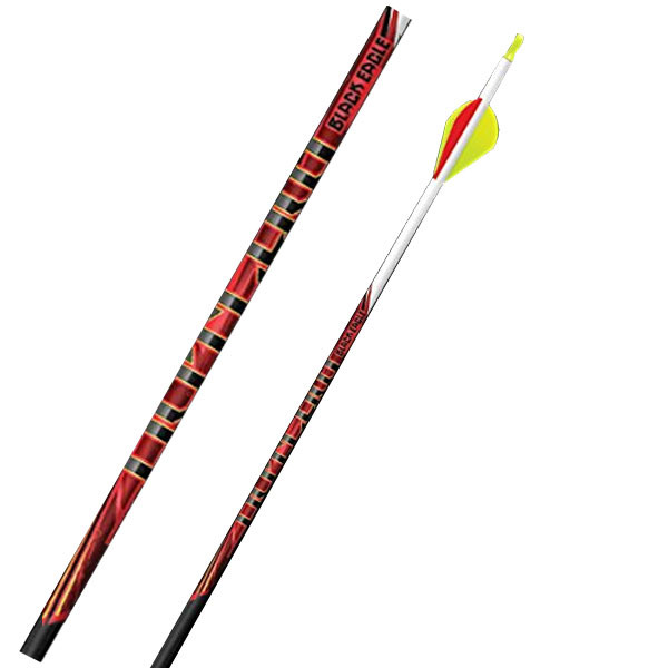"""Black Eagle Outlaw Fletched Crested Arrows - .005"""" 6 Pack - 350 - White Crested"""