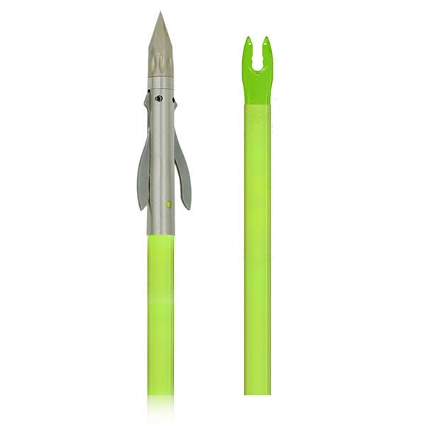 Muzzy IRON 2-blade Fish Point w/Chartreuse arrow (nock installed)