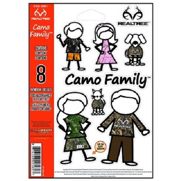 "CamoWraps 8 Pack of Realtree Camo Family Decal Set.  5.5"" x 7"" RT-CFAM-SM"